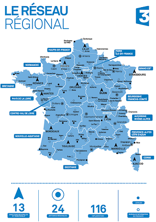 Carte des 116 implantations France 3